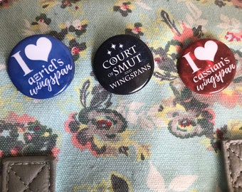 A Court of Thorns and Roses Button Set, Rhysand, Cassian, Azriel, Sarah J Maas, Illyrian Warriors, Wingspan, ACOMAF, Enamel Pin, Badges