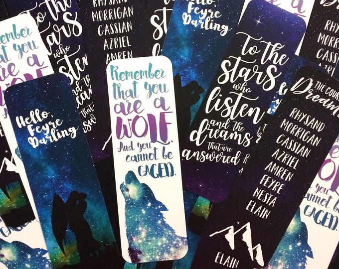 ACOMAF Bookmarks, ACOTAR Bookmark, ACOWAR Bookmarks, Bookish Bookmarks, Feysand, Rhysand, Feyre, Sarah J Maas, To the stars, Court of Dreams