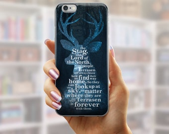 Throne of Glass Phone Case, Terracen Stag Lord of the North, Sarah J Maas, Throne of Glass Galaxy Phone Case, Rowaelin, Bookish iPhone Case