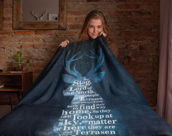 Throne of Glass Blanket, Stag, Aelin, Rowan, Rowaelin, Terrasen, Sarah J Maas, Throw Blanket, Sherpa Fleece Blanket