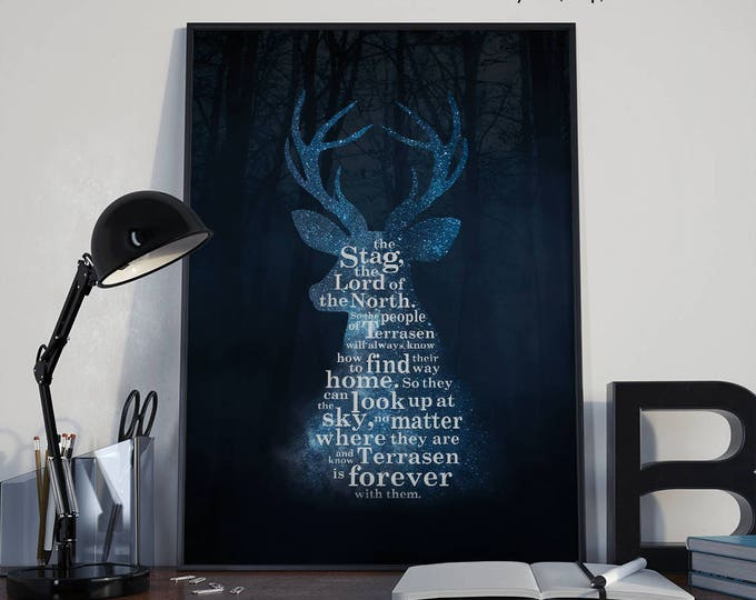 Throne of Glass Print, Heir of Fire, Sarah J Maas, Court of Terrasen, Rowaelin Art, Empire of Storms Poster, Bookish Print, Stag The Lord of