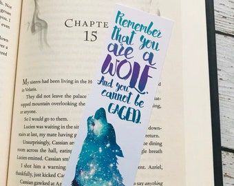 ACOTAR Rhysand Bookmark, Rhysand and Feyre, Sarah J Maas, Remember that you are a wolf, Feysand Bookmark, Inspirational Bookmark