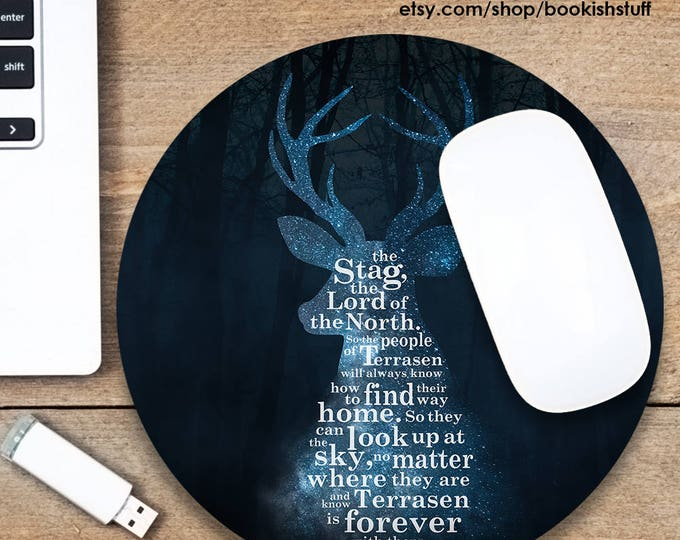 Throne of Glass Mouse Pad, Stag Mousepad, Terrasen Mouse Pad, Bookish Mouse Pad