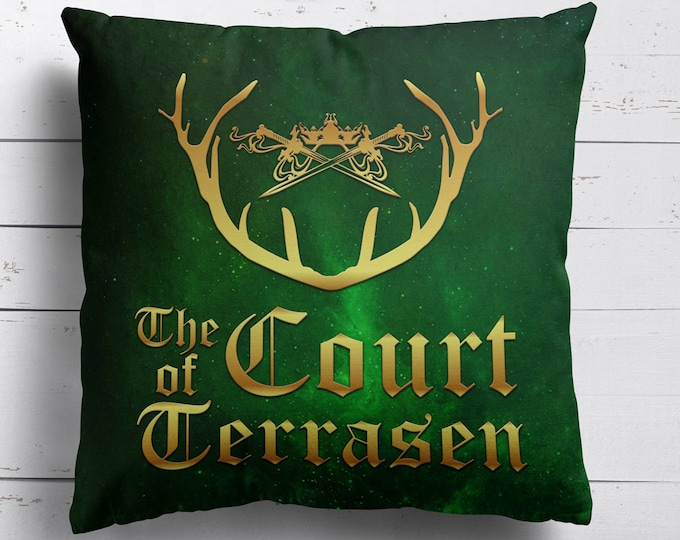 The Court of Terrasen, Pillow Cover, Throne of Glass, Kingdom of Ash, Empire of Storms, Rowaelin, Aelin Ashryver Galathynius, Rowan Whitetho