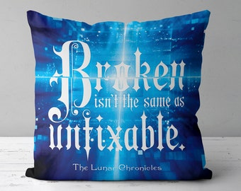 Lunar Chronicles Pillow, Cress, Winter, Cinder, Scarlet, Iko, Thorne, Wolf, Lunar Chronicles Merch, Marissa Meyer, Throw Pillow
