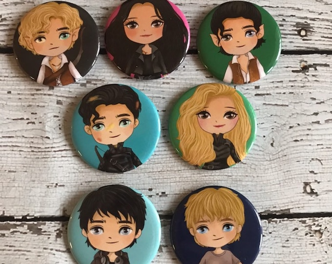Dark Artifices Character Buttons, Julian Blackthorn, Emma Carstairs, Lady Midnight, Mark Blackthorn, Kit Herondale, Shadowhunters