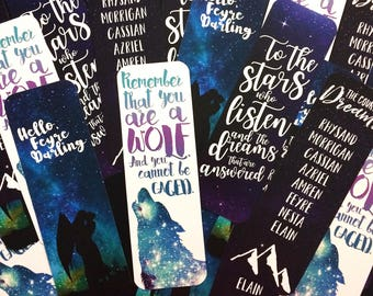 ACOMAF Bookmarks, ACOTAR Bookmark, ACOWAR Bookmarks, Bookish Bookmarks, Feysand, Rhysand, Feyre, To the stars, Court of Dreams