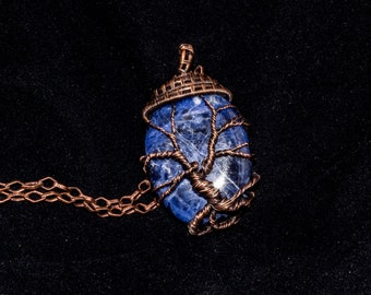 Wire Weave Blue Sodalite Tree of Life Pendant   Copper Wire   Necklace, Mineral Jewelry, Natural Jewelry, People Decoration
