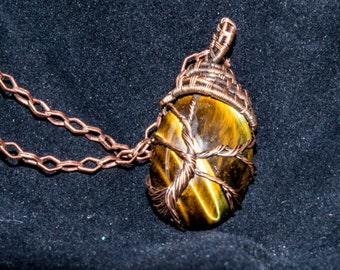 Wire Weave Gold Tigers Eye Tree of Life Pendant   Copper Wire   Necklace, Mineral Jewelry, Natural Jewelry, People Decoration