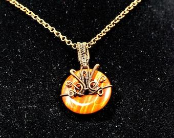 Wire Weave Red Jasper Pendant   Copper Wire   Women's Necklace, Men's Pendant, Mineral Jewelry, Natural Jewelry