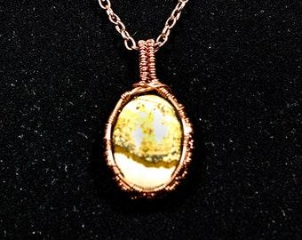 Wire Weave Picture Jasper Pendant   Copper Wire   Women's Necklace, Men's Pendant, Mineral Jewelry, Natural Jewelry