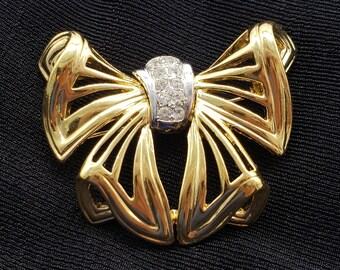 Vintage Trifari Bow Brooch Rhinestone Multi Tone Ribbon Signed Trifari Pin Designer Costume Jewelry Vintage Brooch Elegant Gold Bow Brooch