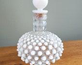 Vintage Fenton Hobnail Opalescent Cologne Perfume Bottle With Stopper Translucent Art Glass Vanity Decor