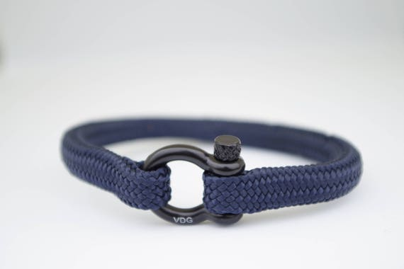 Black /& Black Shackle Bracelet Mens Paracord Rope Nautical Sailing Bracelet