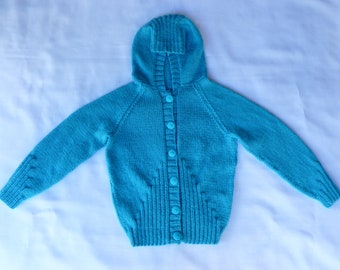 Girls Knitted Hoodie/Hoodie Jacket Knit/Girls Hoodie/Turquoise/Kids Hoodie/Girls/8 years/9 years/10 years/Paula's 1 offs/Buttoned Hoodie