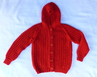 Kids Hand Knitted Red Cardigan with Hood/Childs Red Hoodie/Knitted Cardigan/Boys Knit/Girls Knit Jumper/6 years/5 years/Australian Seller