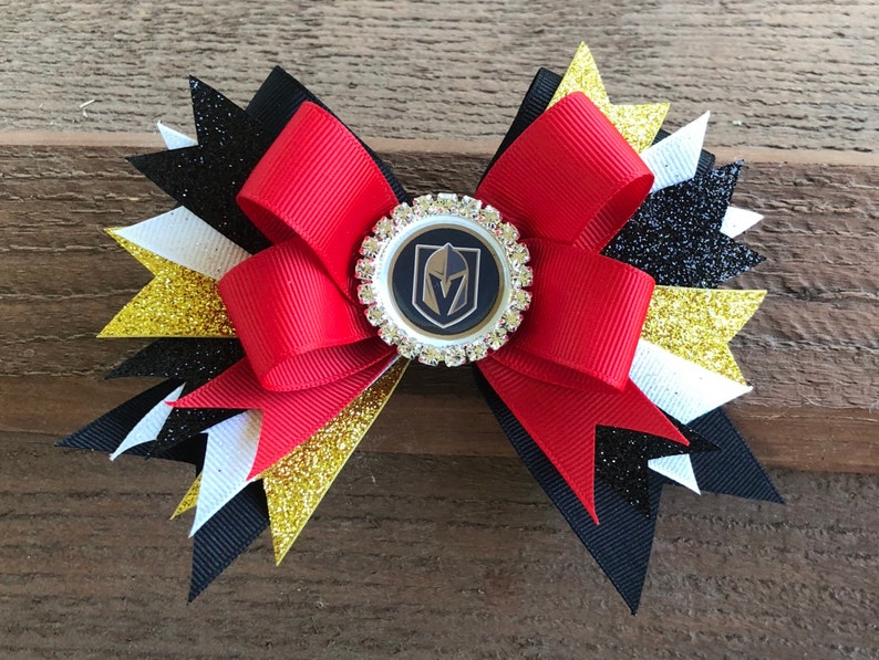 online retailer 810ec d0900 las vegas golden knights bow golden knights hair bow nhl hockey sports bow  golden knights women golden nights girl golden knights jersey nhl