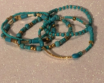 Turquoise and Gold Glass Bead Stretchy Bracelet set of 5