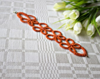 Tatting orange butterfly  braided beautiful bracelet jewelry cotton crochet bracelet woven tatting lace fabric charm bracelet tatting gift