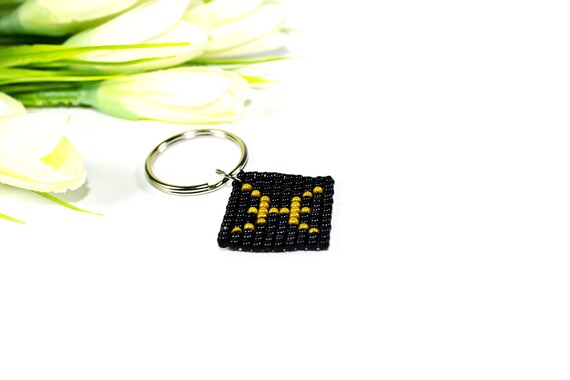 Keychain Beaded Zodiac Sign Pisces February March Black And Etsy