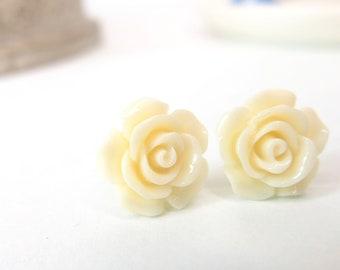 Ivory Rose Stud, Soft White Earring, Acrylic Rose Stud, Resin Rose Earring, Ivory Rose Earring, Handmade Earring, Small 12mm Studs - ear-223