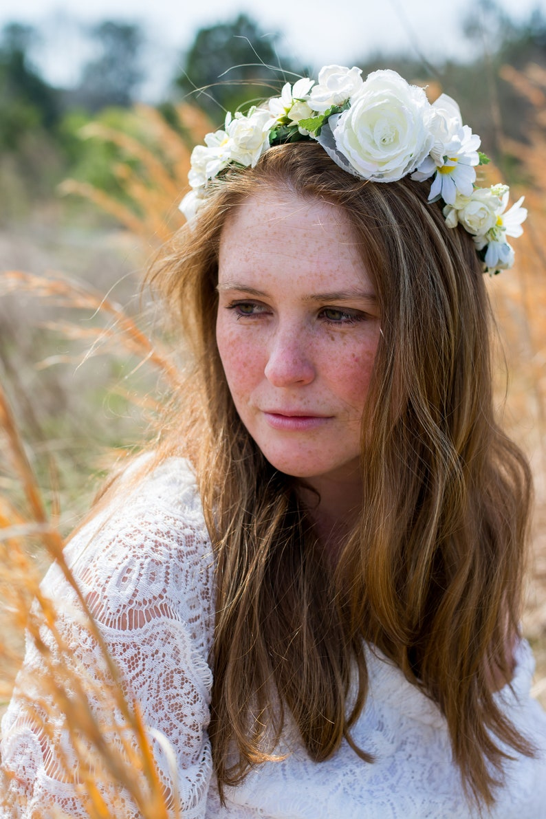 Large Peony Crown Cream Cream Bridal Halo Ivory and White Flower Crown Natural Halo Crown Rustic Wedding Crown WedAcc -135