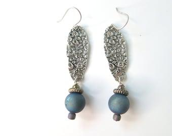 Seashell Silver Earring with Dark Teal Navy Druzy Bead - Beach Jewelry - Beach Earrings - Gift for friend -  Beach Wedding