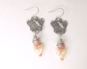 Bird of Paradise Silverware Dangle Earring -  Silver Dangle Drop Earring - Bridal Boho Earring - Bird Earring - Gift for Bride - Ear-227