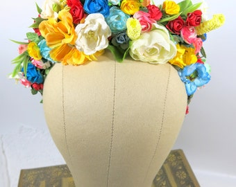 Frida Kahlo Style Headpiece - Wedding Hair Wreath - Bridal Hair Wreath - Mardi Gras Hair Piece - Quinceañera - Renaissance Fair Hair Piece