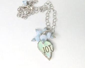 Handmade Bezel - Aquamarine Gemstones Necklace - Gemstone Necklace - Joy Necklace - March Birthstone - Positive Saying Necklace - Neck 172