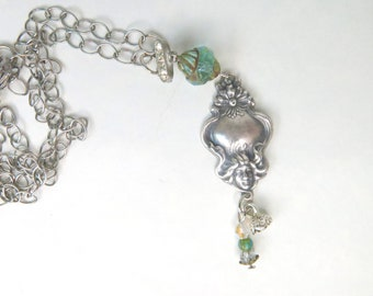 Victorian Woman Necklace - Bohemian jewelry - Goddess Pendant - Art Nouveau Necklace -  Long Victorian Necklace  - Neck-174
