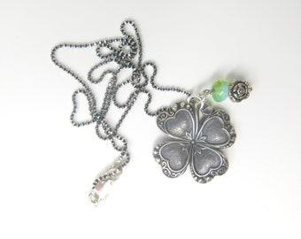 Irish Shamrock Dark Silver Plated charm - Blackened Sterling Silver Ball chain - Ireland Celtic charm - St. Patricks Day - Four Leaf Clover