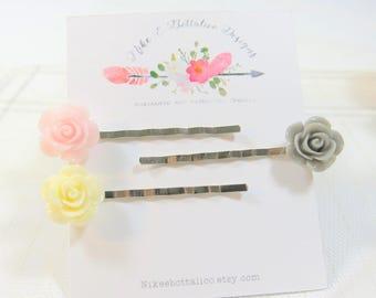 Romantic hairpins - Vintage-style hair - Rose Flower Bobby Pins - Flower Girl - Gift for Her - Rose Hairpin - Rose Bobbies  - Bridal hairpin
