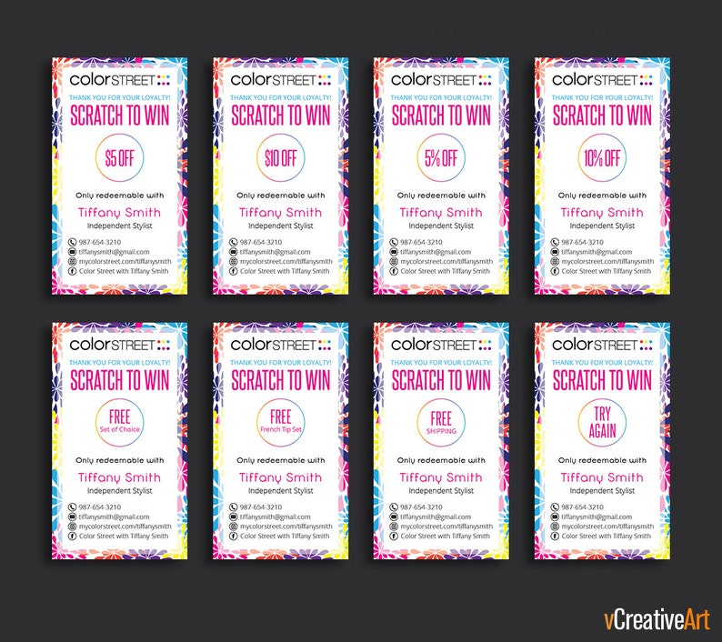 PRINTABLE Color Street Scratch Off Card, Color Street Loyalty Scratch  Cards, Color Street Scratch & Win, Color Street Business Cards CS11