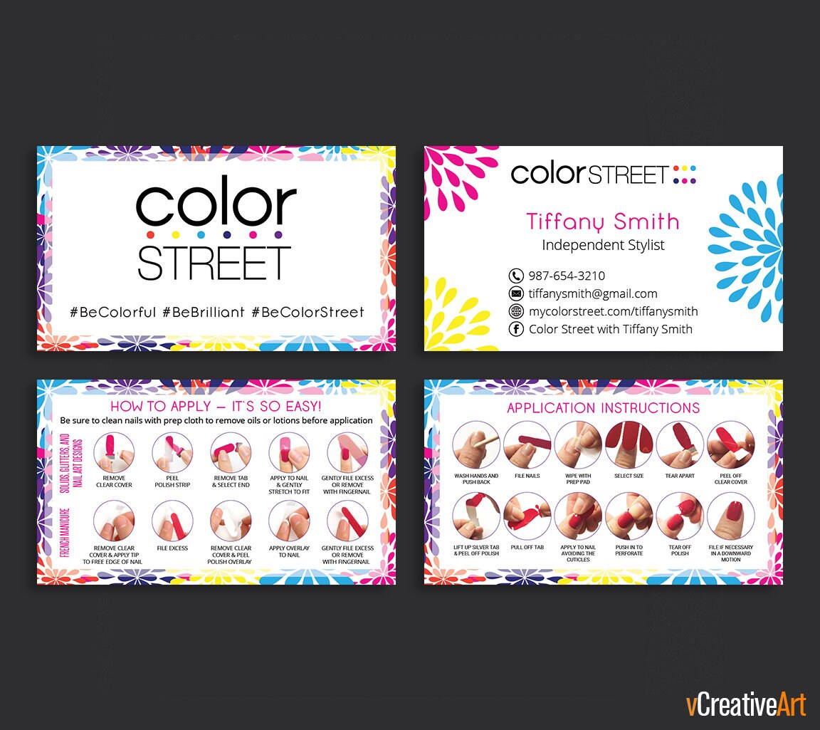 Printable Color Street Business Cards Color Street Application Instructions Color Street How To Apply Card Modern Business Card Cs11