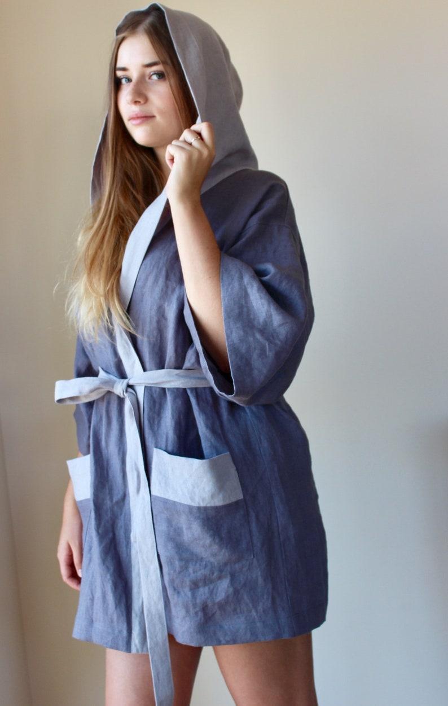Softened Linen Womens Hooded Dressing Gown Short Length Housecoat Linen Bathrobe Kimono Robe