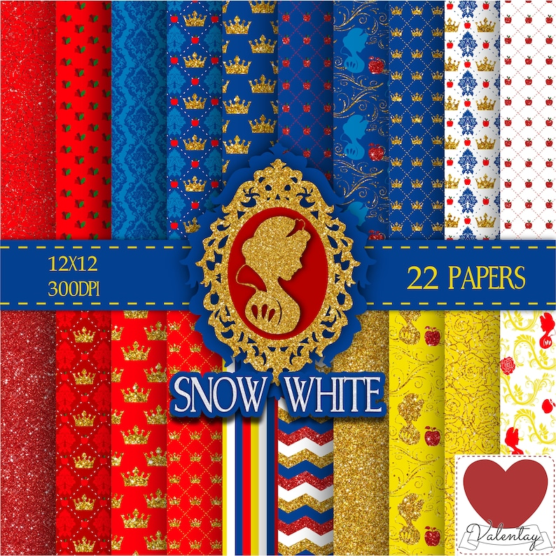 Disney Snow White Digital Paper Kit Digital Branca De Neve Etsy