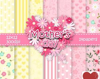 Mother's Day Digital Paper Kit Digital Dia das Mães