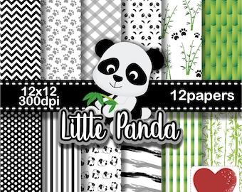 Little Panda Digital Paper Kit Digital Pequeno Panda
