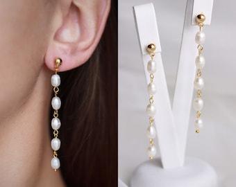 Long drop pearl earrings for bride or bridesmaid