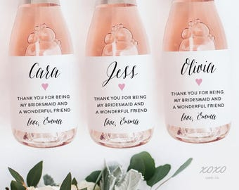 Thank You For Being My Bridesmaid Mini Champagne Labels