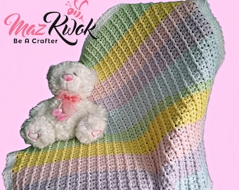 Crocheted candy line baby blanket/throw - free worldwide shipping