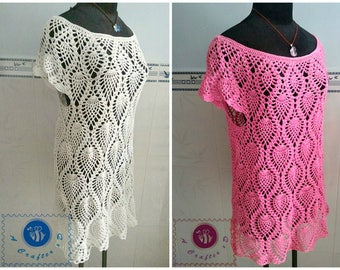 Crocheted pineapple dress/ top  - free worldwide shipping
