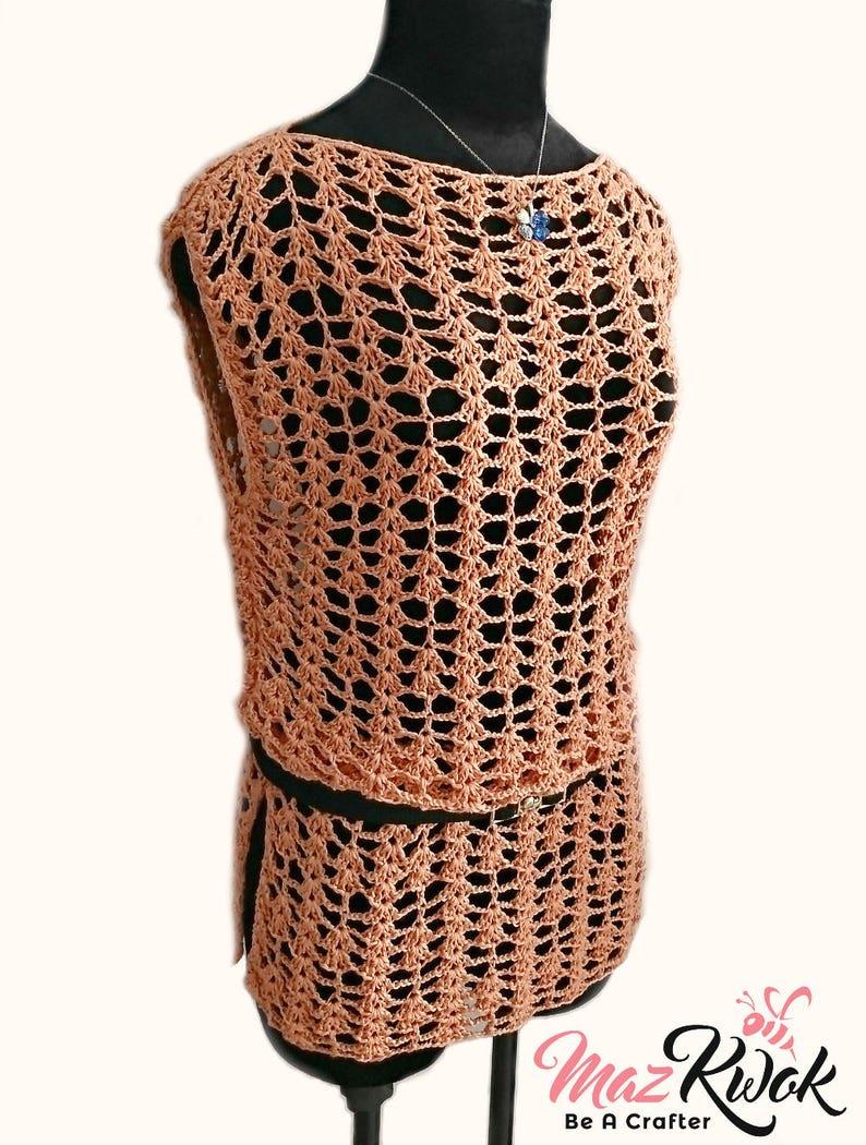 Crocheted Sunny lace tunic  free worldwide shipping image 0
