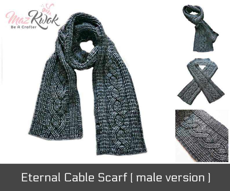 Crocheted Eternal cable scarf  male version   free image 0
