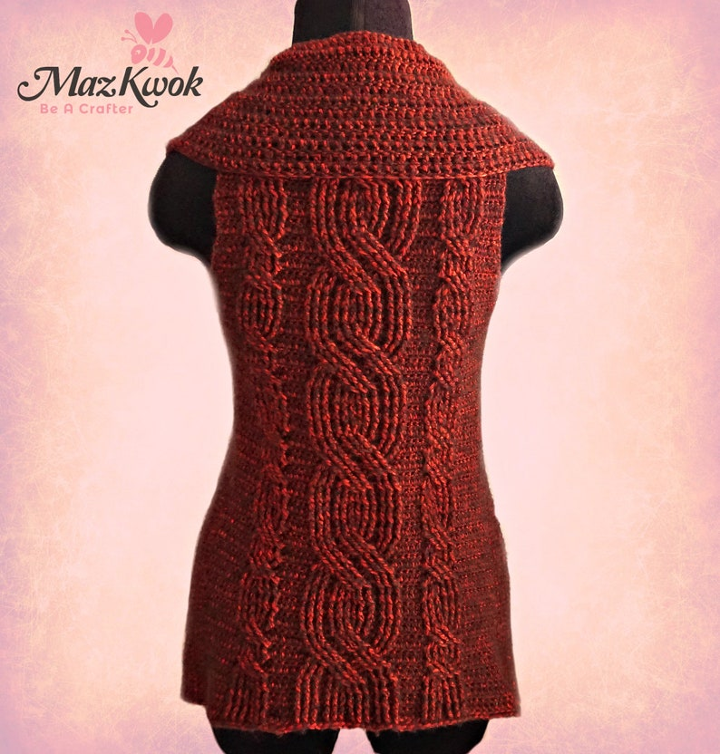 Crocheted Crimson collared vest  free worldwide shipping image 0