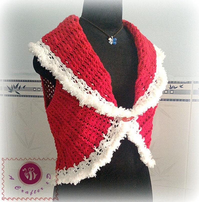 332dad5376b5e Crocheted Christmas shawl cir-collar vest free worldwide