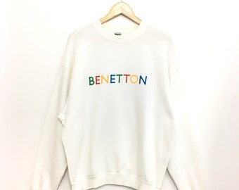a0be5c9863a3 Vintage BENETTON SweatShirt Embroidery Spellout Multicolor Small Size
