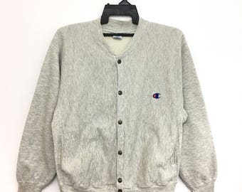 Vintage 90s CHAMPION Varsity Sweatshirt Jacket Reverse Weave Snap Button  Made In Mexico Medium Size on tag 2c14d524856b