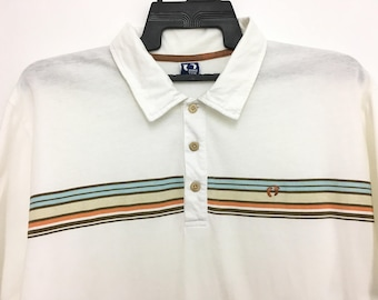 c67ca40b Vintage HANG TEN Polo Tshirt Button Up White Color Size LL